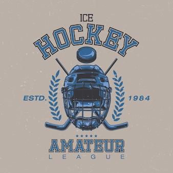 Projekt etykiety z ilustracją przedstawiającą maskę hokejową, kije hokejowe i krążek