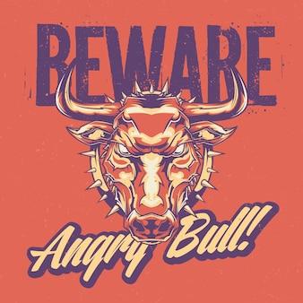 Projekt etykiety z ilustracją wściekłego byka