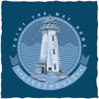 Projekt etykiety żeglarskiej koszulki z ilustracją starej latarni morskiej.
