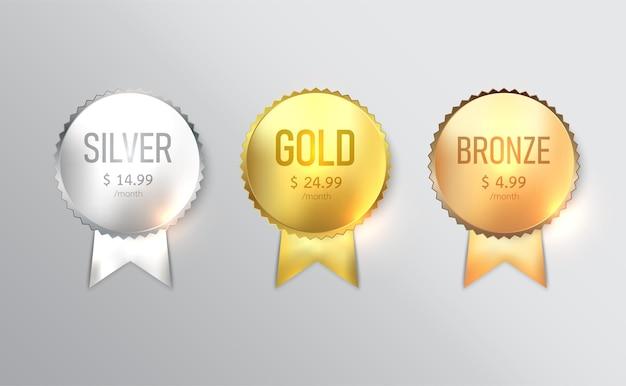 Projekt etykiety, zestaw odznak ze złotem