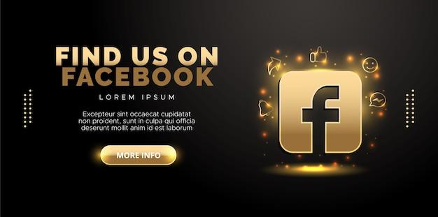 Projekt facebook w kolorze złotym na czarnym tle