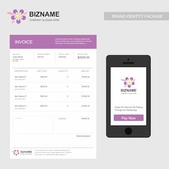 Projekt faktury firmy z kreatywnym wektor projektowania