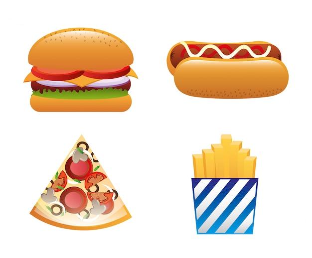 Projekt fast food na białym tle ilustracji wektorowych