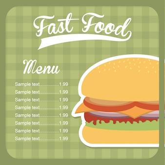 Projekt fast food na zielonym tle ilustracji wektorowych