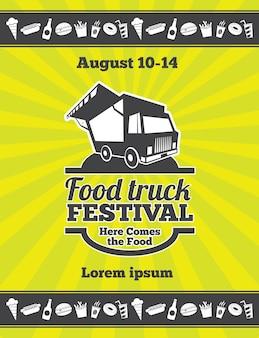 Projekt festiwalu ulicznego żywności plakatu wektorowego. banner truck festobal food, ilustracja festiwalu żywności plakatu