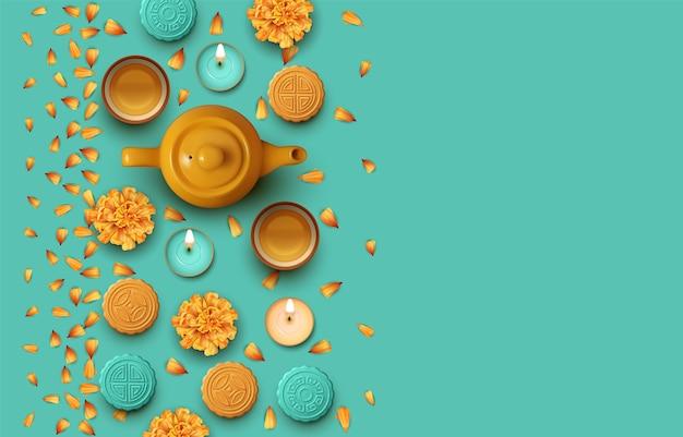 Projekt festiwalu w połowie jesieni. czajnik, filiżanki do herbaty, kwiaty i ciastka księżycowe. ilustracja widok z góry