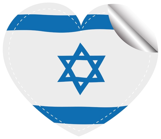 Projekt flagi izraela na okrągłej naklejce