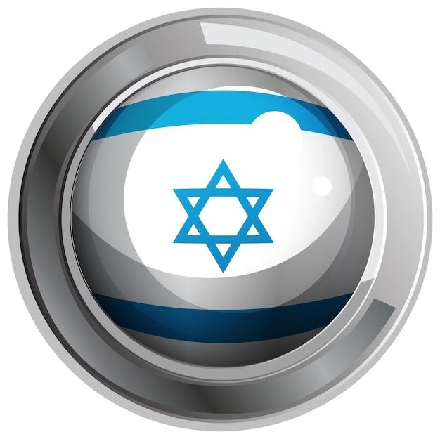 Projekt flagi izraela na okrągłej odznace