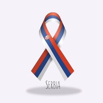 Projekt flagi z flagą serbii