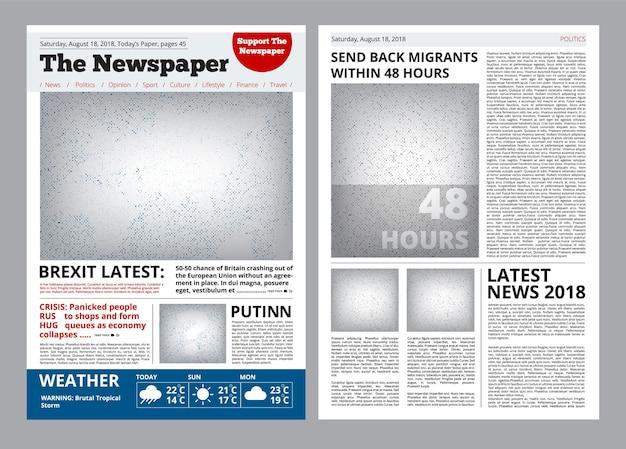 Projekt gazety. szablon nagłówka dziennika z miejscem na broszurę dotyczącą układu tekstu i obrazów.