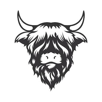 Projekt głowy krowy highland na białym tle. zwierzę hodowlane. logo lub ikony krów. ilustracji wektorowych.