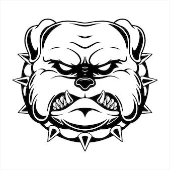 Projekt głowy pitbull z rysowaniem ręcznym lub szkicowym stylem