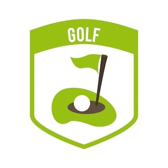 Projekt golfa na białym tle ilustracji wektorowych