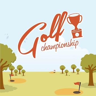 Projekt golfa nad krajobraz ilustracji wektorowych tle