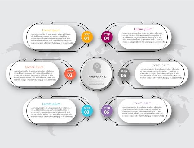 Projekt graficzny biznesowego diagramu koła osi czasu z 6 krokami