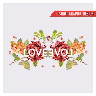 Projekt graficzny karty hortensji kwiatowej