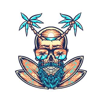 Projekt graficzny koszulki letniej plaży w kształcie czaszki, ręcznie rysowana linia w cyfrowym kolorze