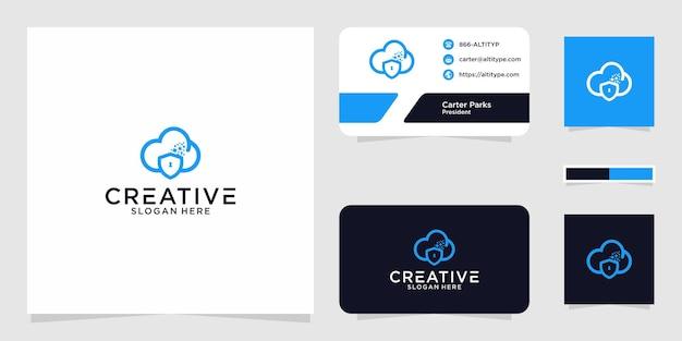 Projekt graficzny logo w chmurze bezpieczeństwa do innych zastosowań jest idealny