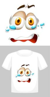 Projekt graficzny na białej koszulce z płaczącą twarzą