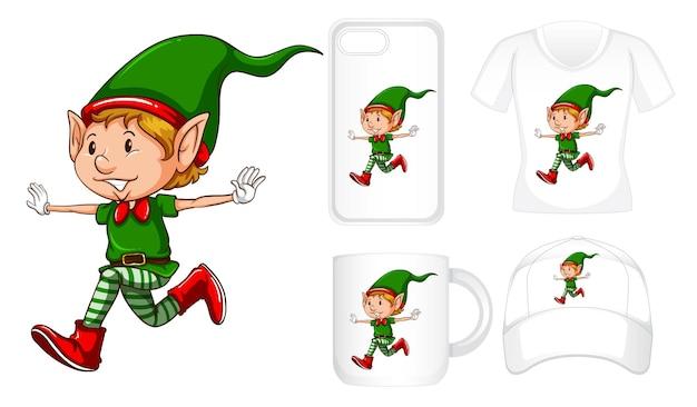 Projekt graficzny na różnych produktach ze świątecznym elfem