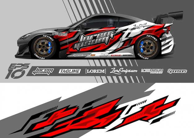 Projekt graficzny naklejek samochodowych. wyścigi abstrakcyjne paski.
