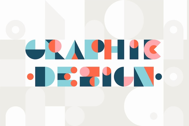 Projekt graficzny napis geometryczny styl