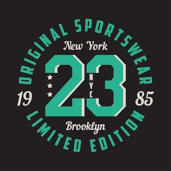 Projekt graficzny new york brooklyn na koszulkę odzież sportową typografia na ubrania