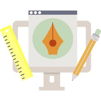 Projekt graficzny platformy pc wektor płaska ikona