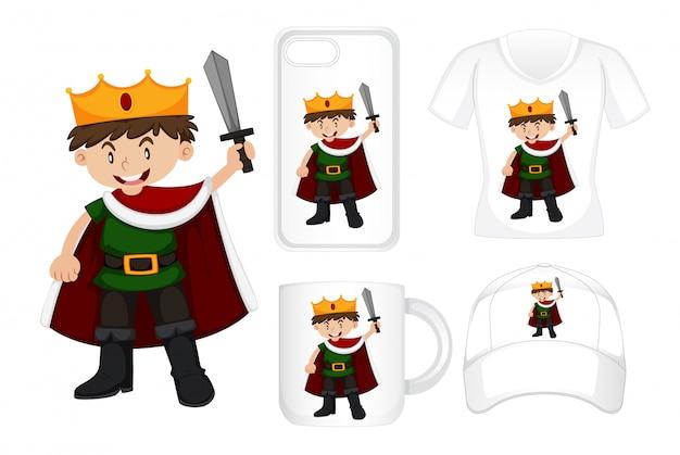 Projekt graficzny różnych produktów z królem trzymającym miecz