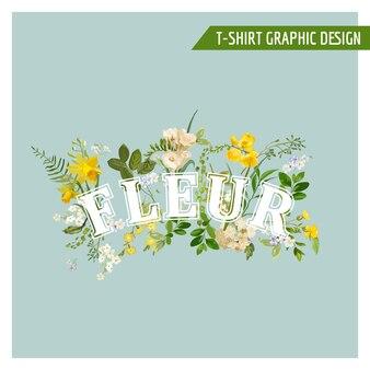Projekt graficzny summer and spring field flowers na koszulkę, modę, nadruki