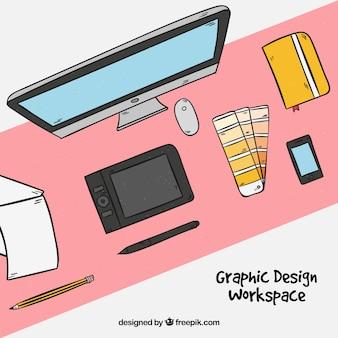 Projekt graficzny tła obszaru roboczego w stylu wyciągnąć rękę
