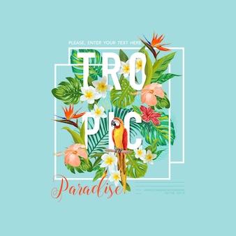 Projekt graficzny tropikalnych ptaków i kwiatów