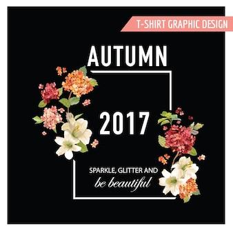 Projekt graficzny vintage autumn and summer flowers na koszulkę, modę, nadruki w