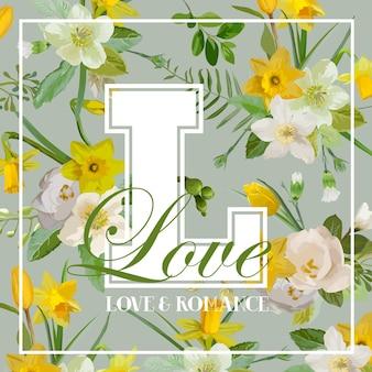 Projekt graficzny vintage kwiaty