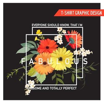 Projekt graficzny vintage summer and spring flowers na koszulkę, modę, nadruki w