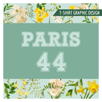 Projekt graficzny vintage summer and spring flowers na koszulkę, modę, nadruki