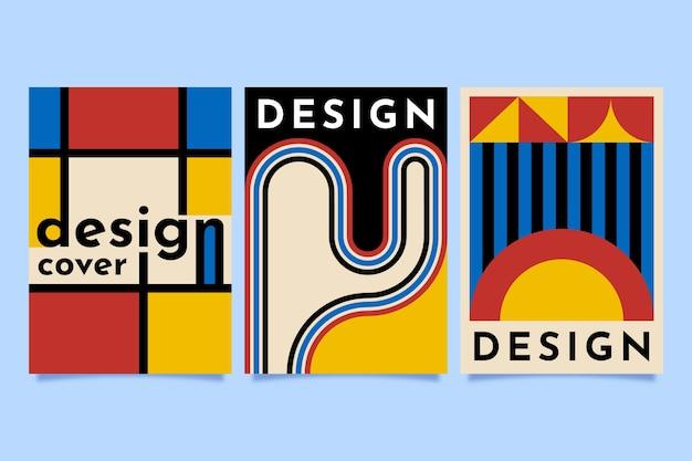 Projekt graficzny w zestawie w stylu bauhaus