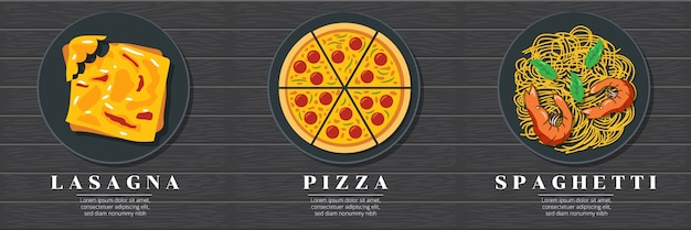 Projekt graficzny włoskiego menu żywności