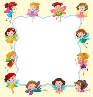Projekt granicy z cute fairies latania