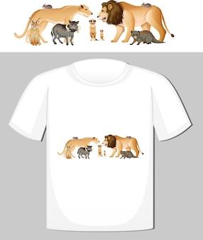 Projekt grupy dzikich zwierząt na koszulkę