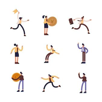 Projekt grupy ikon przedsiębiorców, zarządzanie biznesem i korporacyjna ilustracja motywu