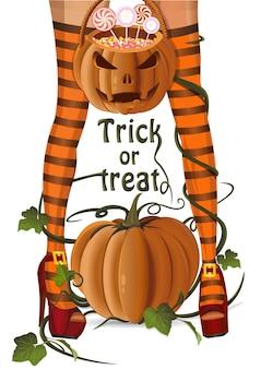 Projekt halloween. kobieta, jack o lantern torba z cukierkami w kształcie lizaków. cukierek albo psikus. karta halloween