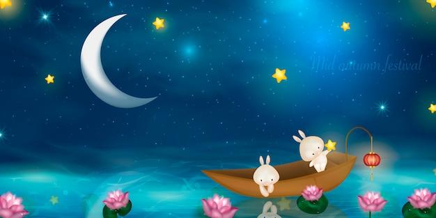 Projekt happy mid autumn festival przy pełni księżyca. króliki na tle nocy z pięknym księżyca w pełni.