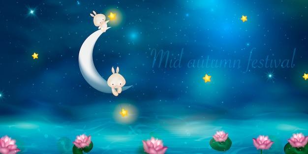 Projekt happy mid autumn festival przy pełni księżyca. króliki na tle nocy z pięknym księżycem.