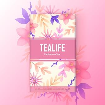 Projekt herbaty akwarela z kwiatami