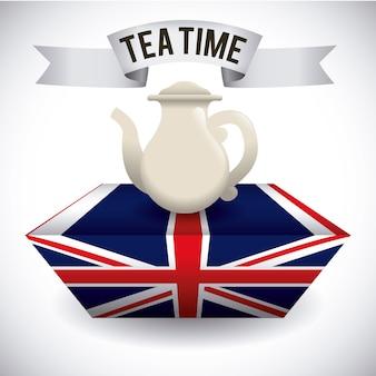 Projekt herbaty na szarym tle ilustracji wektorowych