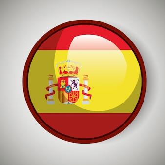 Projekt hiszpańskiej flagi na białym tle ikona