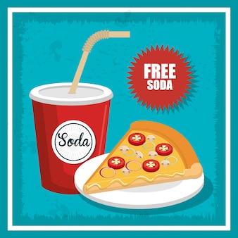 Projekt ikona na białym tle pizzy i sody