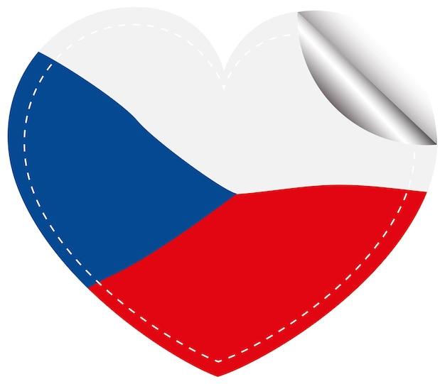 Projekt ikony flagi dla chilie w kształcie serca