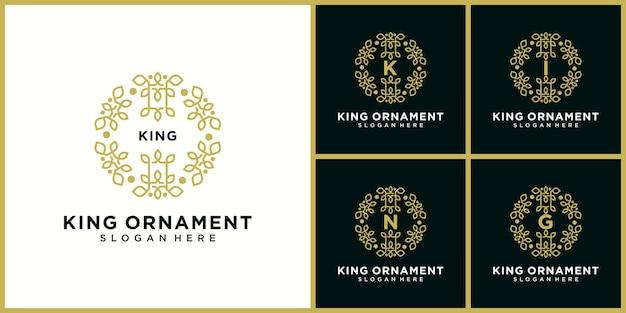 Projekt ikony logo króla ornament w kolorze złotym